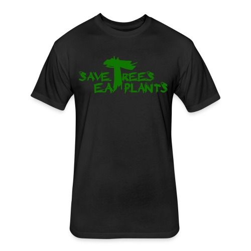 Eat plants, green - Fitted Cotton/Poly T-Shirt by Next Level