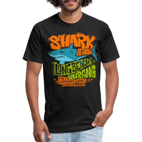 shark surf surfing california - Fitted Cotton/Poly T-Shirt by Next Level