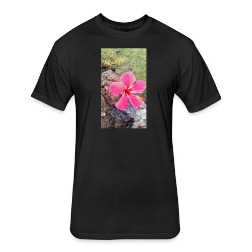 Pink Beach Flower - Fitted Cotton/Poly T-Shirt by Next Level