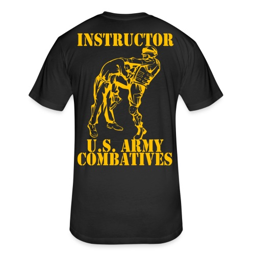 Army Combatives Knee Instructor Gold - Fitted Cotton/Poly T-Shirt by Next Level