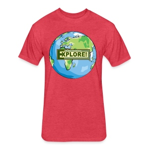 EXPLORE! Logo on the Earth - Fitted Cotton/Poly T-Shirt by Next Level