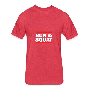 Run Squat White on Dark by Epic Greetings - Fitted Cotton/Poly T-Shirt by Next Level