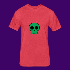 Green Skull - Fitted Cotton/Poly T-Shirt by Next Level
