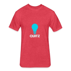 Quitz Blue w/ white text - Fitted Cotton/Poly T-Shirt by Next Level