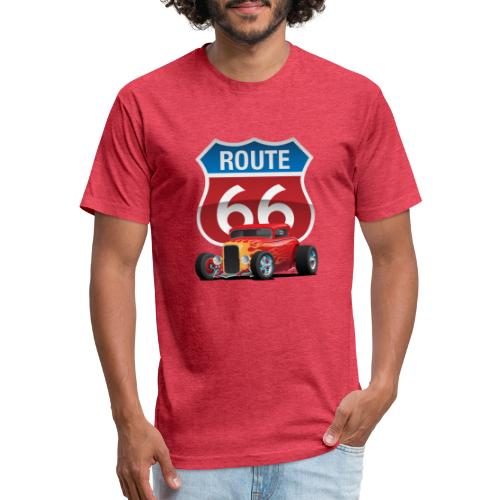 Route 66 Sign with Classic American Red Hotrod - Fitted Cotton/Poly T-Shirt by Next Level