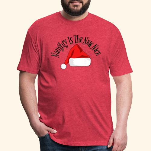 Naughty Is The New Nice Santa Hat Design - Fitted Cotton/Poly T-Shirt by Next Level