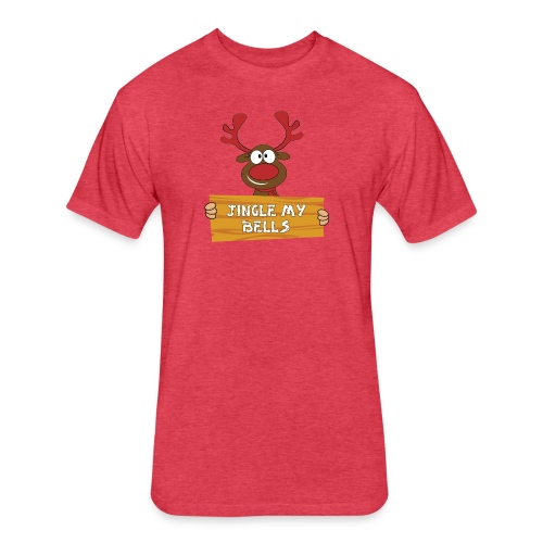 Red Christmas Horny Reindeer 1 - Fitted Cotton/Poly T-Shirt by Next Level