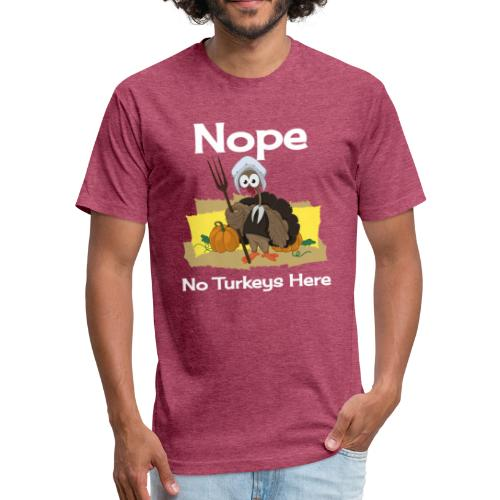 Funny Thanksgiving Turkey Novelty Gift T-Shirt - Fitted Cotton/Poly T-Shirt by Next Level