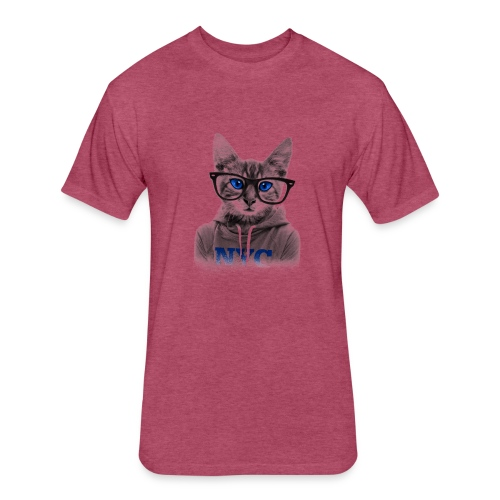 Blue Eyes Cat - Fitted Cotton/Poly T-Shirt by Next Level