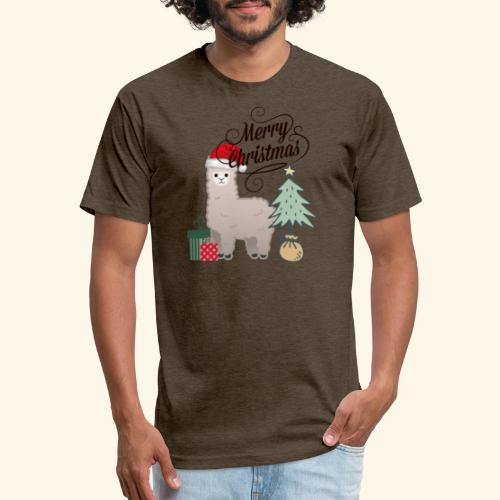 Christmas Lama - Fitted Cotton/Poly T-Shirt by Next Level