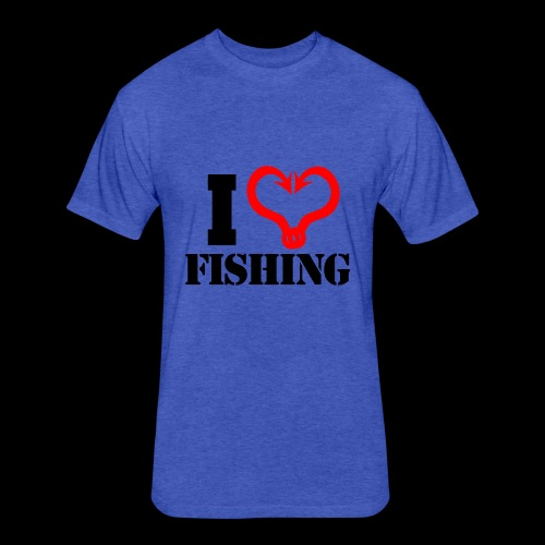 02 I heart fishing BLACK - Fitted Cotton/Poly T-Shirt by Next Level