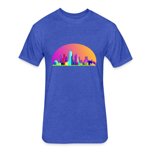Summer evening city skyline - Fitted Cotton/Poly T-Shirt by Next Level