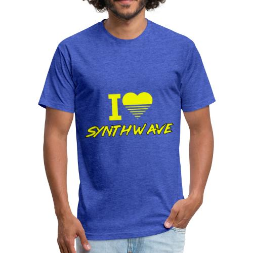 I heart synthwave (yellow) - Fitted Cotton/Poly T-Shirt by Next Level