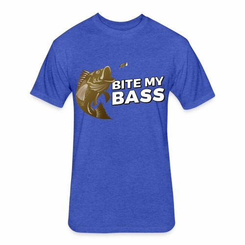 Bass Chasing a Lure with saying Bite My Bass - Fitted Cotton/Poly T-Shirt by Next Level