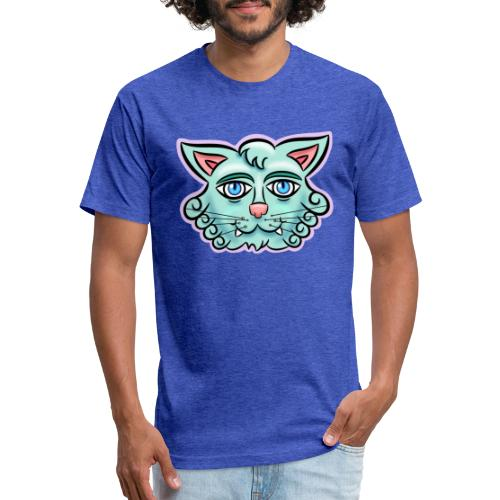 Happy Cat Teal - Fitted Cotton/Poly T-Shirt by Next Level