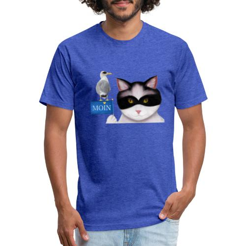 The masked Cat says MOIN - Fitted Cotton/Poly T-Shirt by Next Level