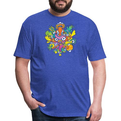 Don't let this evil monster gobble our friend - Fitted Cotton/Poly T-Shirt by Next Level