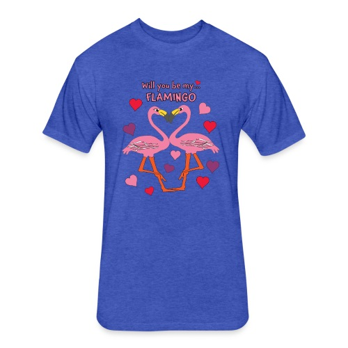 Will You be my Flamingo Valentine Kisses - Fitted Cotton/Poly T-Shirt by Next Level
