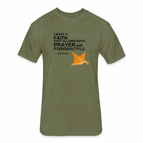 Prayer and Pterodactyls Orange - Fitted Cotton/Poly T-Shirt by Next Level