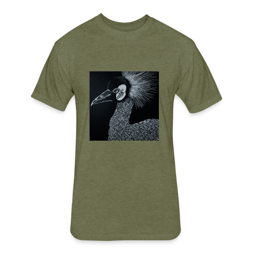 Black Crowned Crane - Fitted Cotton/Poly T-Shirt by Next Level