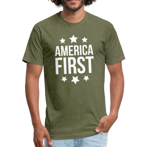 America First - Fitted Cotton/Poly T-Shirt by Next Level