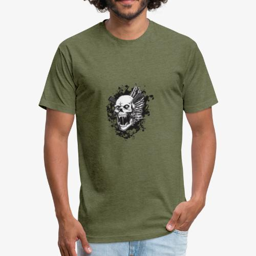 skull royalty drawing - Fitted Cotton/Poly T-Shirt by Next Level