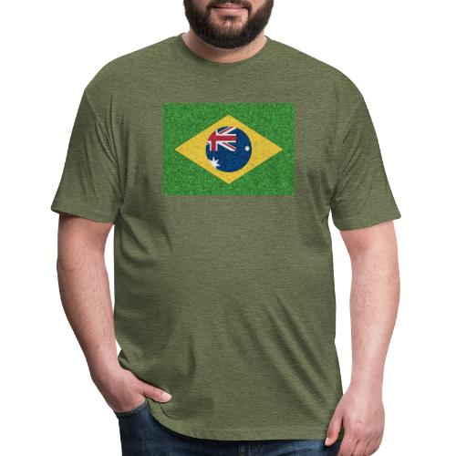 Brazil flag with Australia Twist - Fitted Cotton/Poly T-Shirt by Next Level