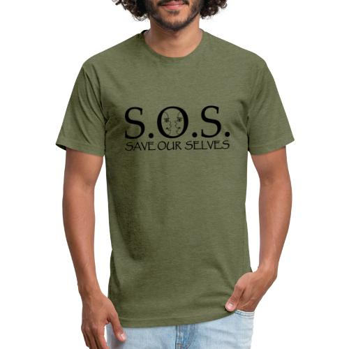 SOS Black on Black - Fitted Cotton/Poly T-Shirt by Next Level