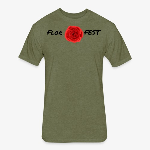 flor fest | black text - Fitted Cotton/Poly T-Shirt by Next Level