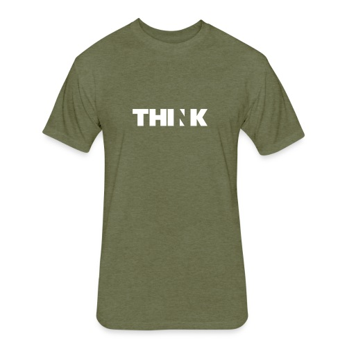 THINK (In White) - Fitted Cotton/Poly T-Shirt by Next Level