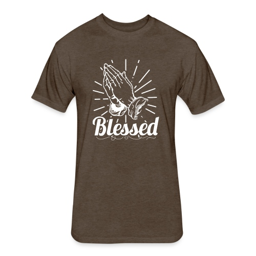 Blessed (White Letters) - Fitted Cotton/Poly T-Shirt by Next Level