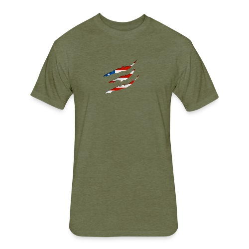 3D American Flag Claw Marks T-shirt for Men - Fitted Cotton/Poly T-Shirt by Next Level
