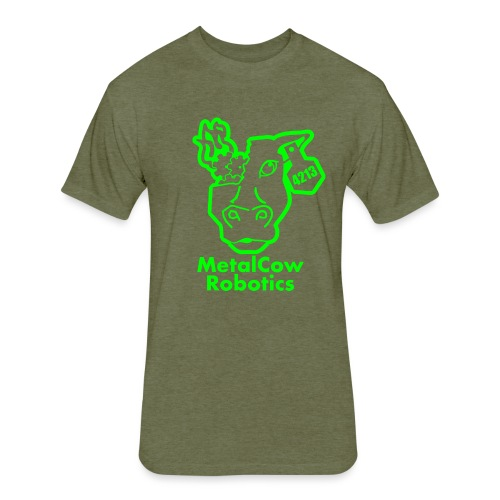 MetalCowLogo GreenOutline - Fitted Cotton/Poly T-Shirt by Next Level