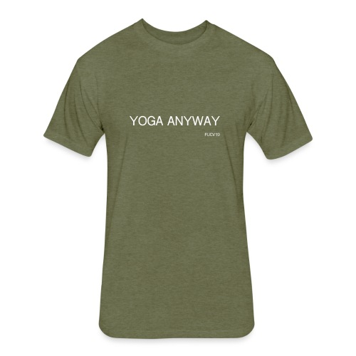 YOGA WHITE font - Fitted Cotton/Poly T-Shirt by Next Level
