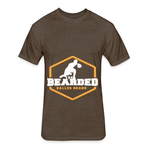The Bearded Baller Brand White and Gold - Fitted Cotton/Poly T-Shirt by Next Level