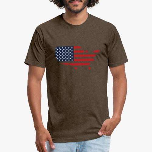 USA flag map red, white & blue - Fitted Cotton/Poly T-Shirt by Next Level