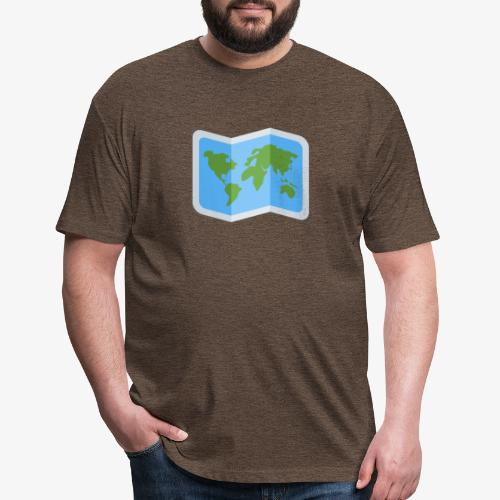 Awesome artsy Earth map - Fitted Cotton/Poly T-Shirt by Next Level