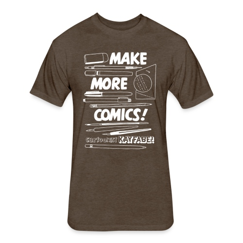 Make More Comics! (white ink) - Fitted Cotton/Poly T-Shirt by Next Level