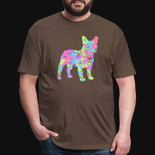 Frenchie love splatter - Fitted Cotton/Poly T-Shirt by Next Level