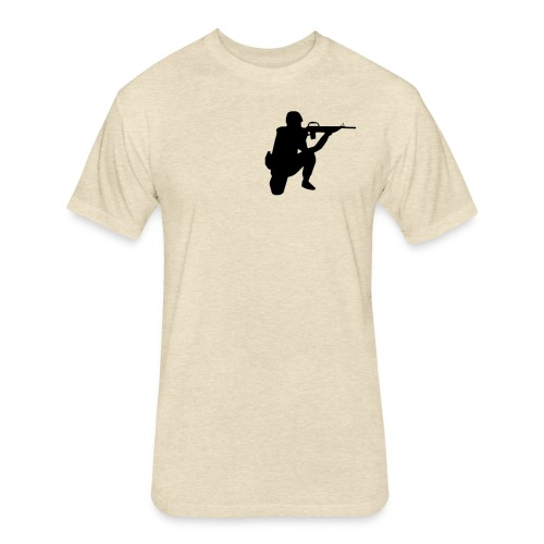 Infantry at ready for action. - Fitted Cotton/Poly T-Shirt by Next Level