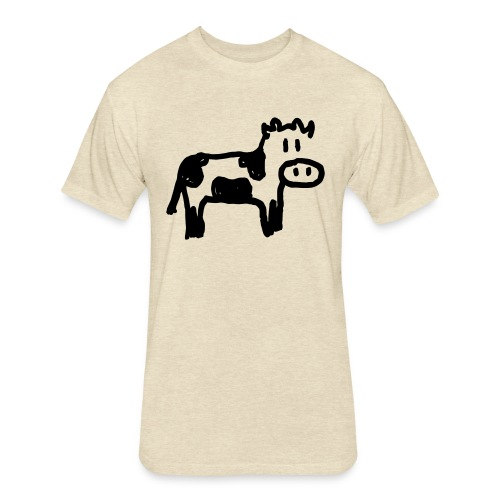 Cow - Fitted Cotton/Poly T-Shirt by Next Level