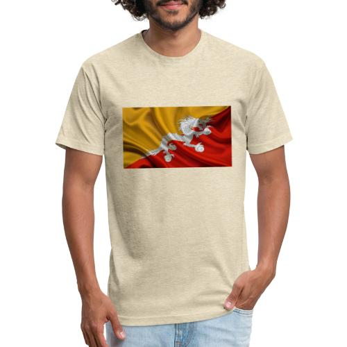 Bhutan Flag - Fitted Cotton/Poly T-Shirt by Next Level