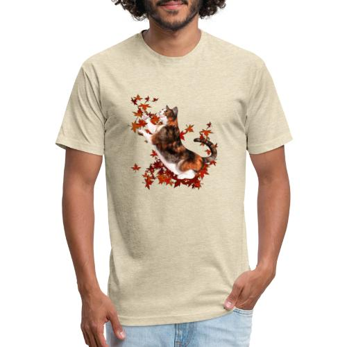 Autumn Cat - cat playing with autumn leaves - Fitted Cotton/Poly T-Shirt by Next Level