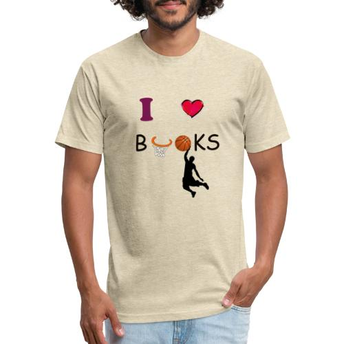 I love Books |Tshirt|Books|Basketball - Fitted Cotton/Poly T-Shirt by Next Level