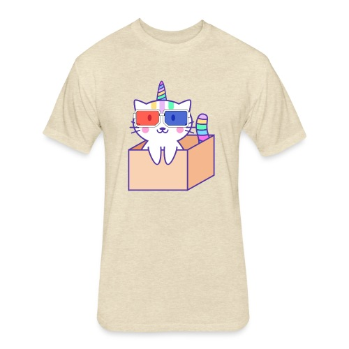 Unicorn cat with 3D glasses doing Vision Therapy! - Fitted Cotton/Poly T-Shirt by Next Level