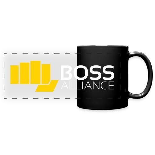 BOSS Fist - White Text - Horizontal - Full Color Panoramic Mug