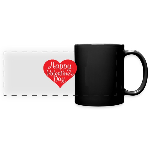 Happy Valentine s Day Heart T shirts and Cute Font - Full Color Panoramic Mug