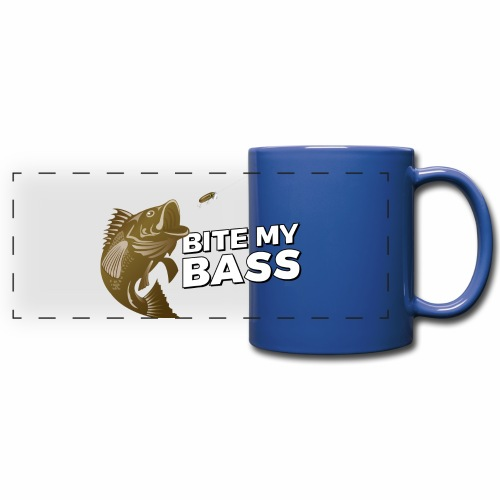 Bass Chasing a Lure with saying Bite My Bass - Full Color Panoramic Mug