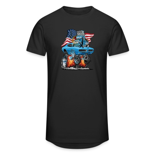 Patriotic Sixties American Muscle Car with Flag - Unisex Oversize T-Shirt