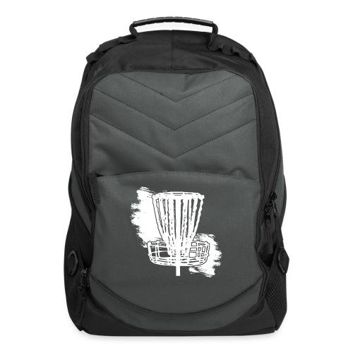 Disc Golf Basket White Print - Computer Backpack